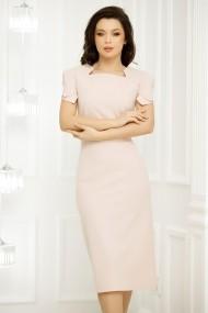 Rochie Alegra roz cu maneci scurte impletite