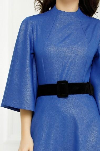 Rochie Kalinda albastra midi cu buzunare laterale