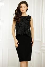 Rochie Yumiko neagra cu bluza din dantela