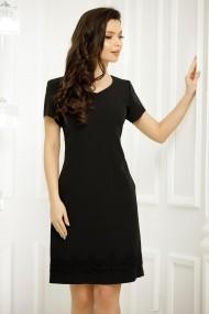 Rochie de zi Kiana neagra cu maneci scurte
