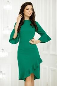 Rochie de zi midi Ejolie verde cu maneci clopot si volan
