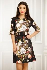 Rochie Oly neagra cu imprimeu floral colorat si centura cu detalii metalice