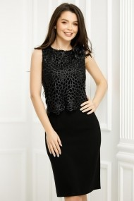 Rochie Yumiko neagra cu bluza din dantela perforata