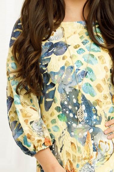 Rochie Fabia galbena cu imprimeu albastru