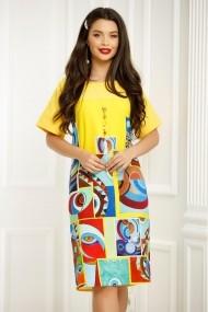 Rochie Ramona galbena cu imprimeu colorat