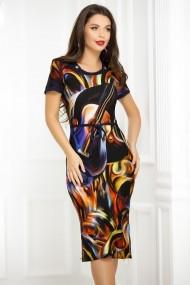 Rochie Despina bleumarin cu imprimeu colorat