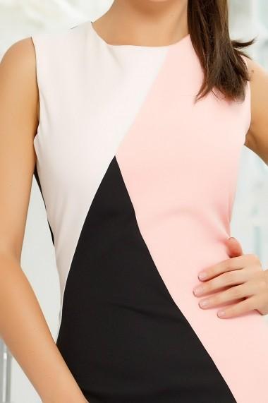Rochie Morgan neagra din stofa cu insertii roz si ivoar