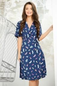 Rochie Ximena albastra din voal cu imprimeu fashion
