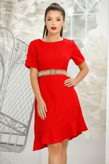 Rochie Amber rosie din stofa cu volan asimetric