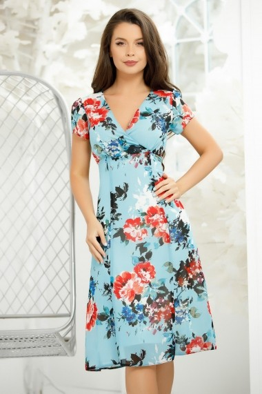 Rochie June bleu din voal cu imprimeu floral colorat