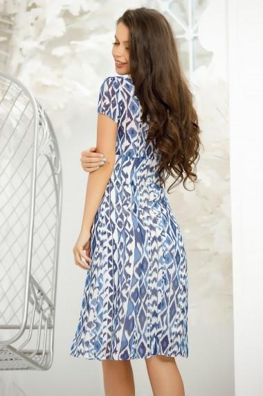 Rochie June alba din voal cu imprimeu albastru