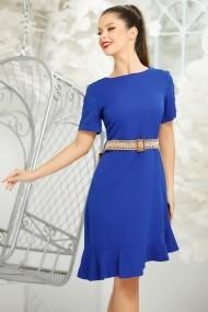 Rochie Amber albastra din stofa cu volan asimetric