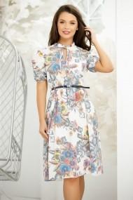 Rochie Aliona alba cu imprimeu floral colorat