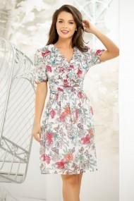 Rochie Emely alba din voal cu imprimeu floral colorat