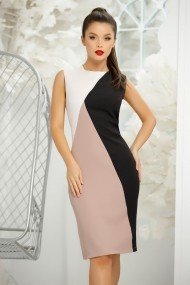 Rochie de zi midi Ejolie roz din stofa cu insertie neagra si ivoar
