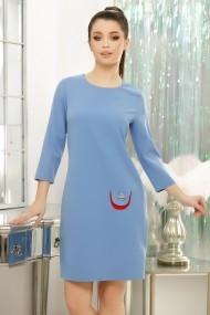 Rochie Agata bleu cu mini buzunar rosu