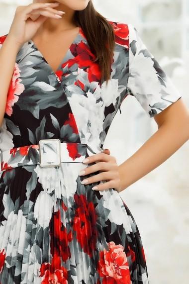 Rochie Henley alba plisata cu imprimeu floral rosu si gri