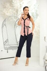 Compleu Tonia din doua piese cu pantaloni bleumarin si bluza roz