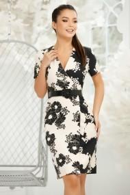 Rochie Ylenia alba cu imprimeu negru