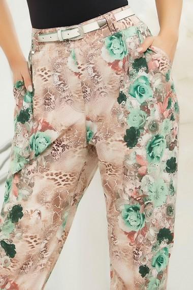 Pantaloni Patrizia Flower cu imprimeu verde