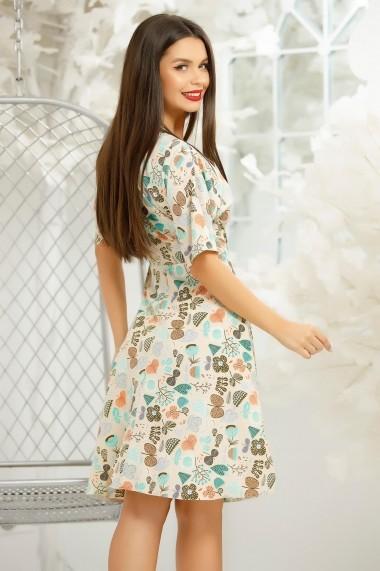 Rochie de zi midi Ejolie nude cu imprimeu colorat