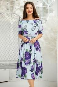 Rochie de zi midi Ejolie albastra cu imprimeu floral mov
