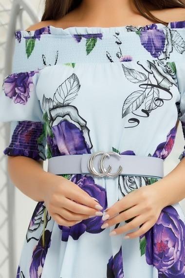 Rochie Dolce albastra cu imprimeu floral mov