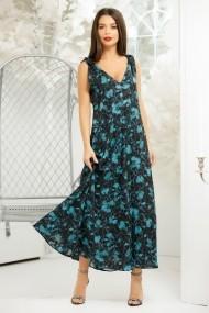 Rochie lunga Ayla din voal negru cu imprimeu turcoaz