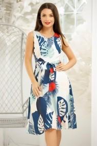 Rochie de zi midi Ejolie alba cu imprimeu albastru rosu si turcoaz