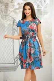Rochie Mya albastra cu imprimeu colorat