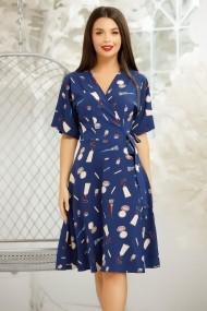 Rochie Ximena albastra din voal supersoft imprimata cu accesorii de make-up