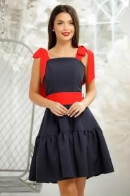 Rochie Inga bleumarin cu bretele si cordon rosii