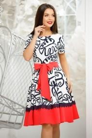 Rochie Stasy alba cu imprimeu bleumarin si bordura rosie