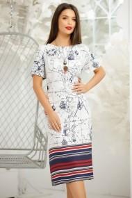 Rochie Geanina alba cu imprimeu bleumarin si dungi rosii