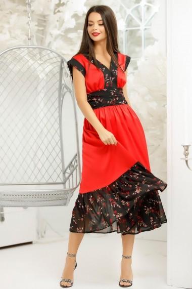 Rochie Ecaterina rosie cu detalii si volan din voal negru cu imprimeu floral