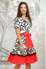 Rochie Stasy alba cu imprimeu negru si bordura rosie