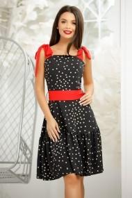 Rochie Inga neagra cu buline crem si bretele rosii