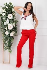Compleu Mika din doua piese cu bluza alba si pantaloni rosii