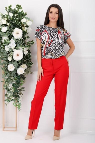 Compleu Zhavia din doua piese cu bluza imprimata si pantaloni rosii