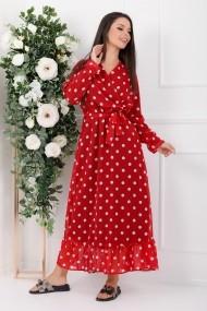 Rochie de zi lunga Ejolie rosie din voal cu buline albe