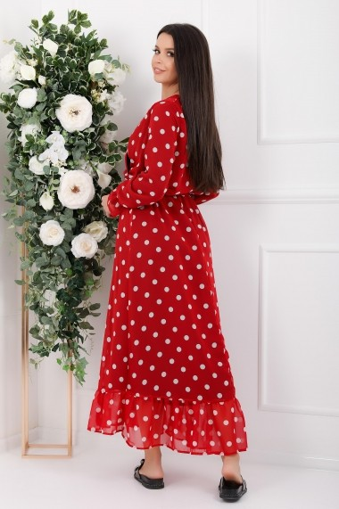 Rochie lunga Avalyn rosie din voal cu buline albe