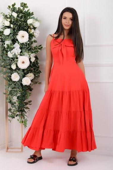 Rochie de zi lunga Ejolie rosie din bumbac