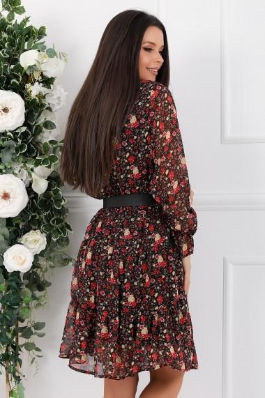 Rochie Vanda neagra din voal cu flori rosii