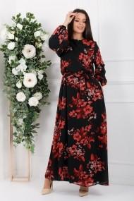 Rochie lunga Kamilah neagra din voal cu flori rosii