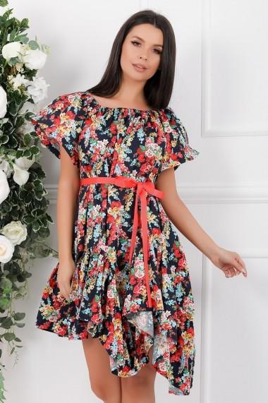 Rochie de zi midi Ejolie bleumarin din bumbac cu imprimeu floral