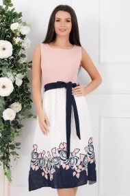 Rochie de zi midi Ejolie alba cu roz cu detalii bleumarin