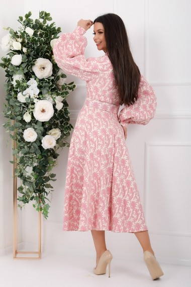 Rochie Calliope roz cu maneci bufante si nasturi tip perla
