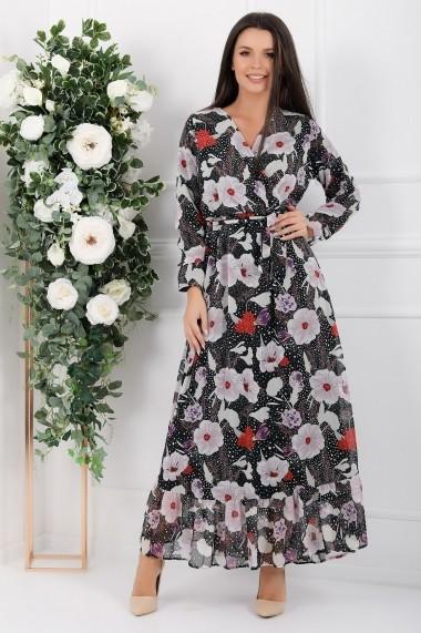 Rochie lunga Avalyn neagra din voal cu flori roze