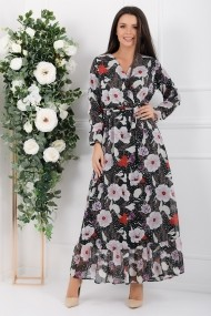 Rochie de zi lunga Ejolie neagra din voal cu flori roze