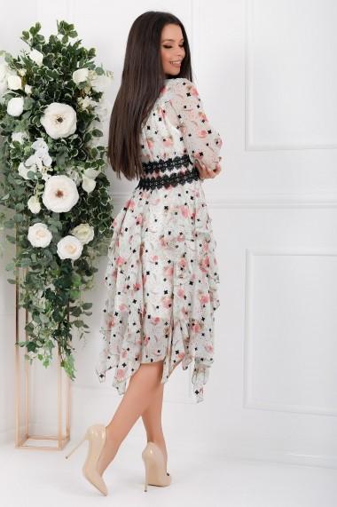 Rochie Londyn vernil asimetrica din voal cu flori roze si dantela neagra